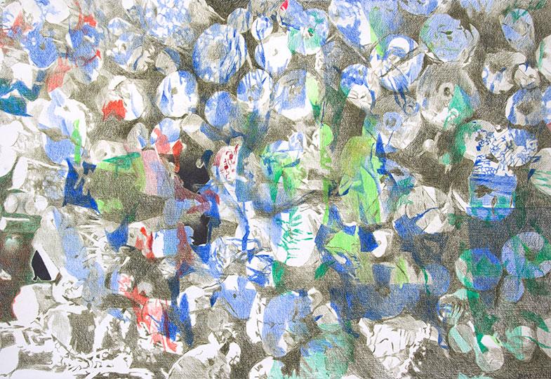 10.1.17, Buntstift auf Papier, 77 × 112 cm, 2017