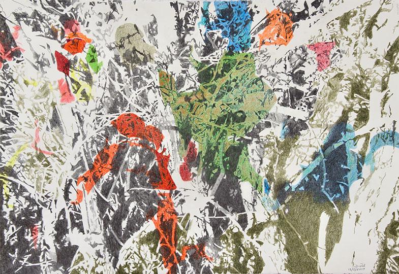 13.3.2017, Buntstift auf Papier, 77 × 112 cm, 2017