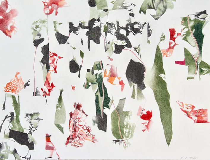 13.3.2020, Buntstift auf Papier, 97 × 127 cm, 2020