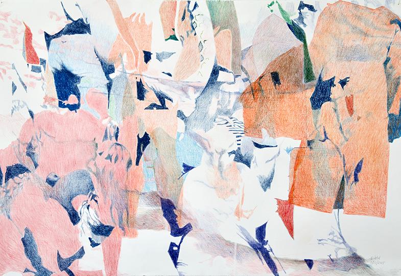 1.12.2015, Buntstift auf Papier, 77 × 112 cm, 2015