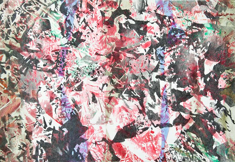 28.8.2018, Buntstift auf Papier, 77 × 112 cm, 2018