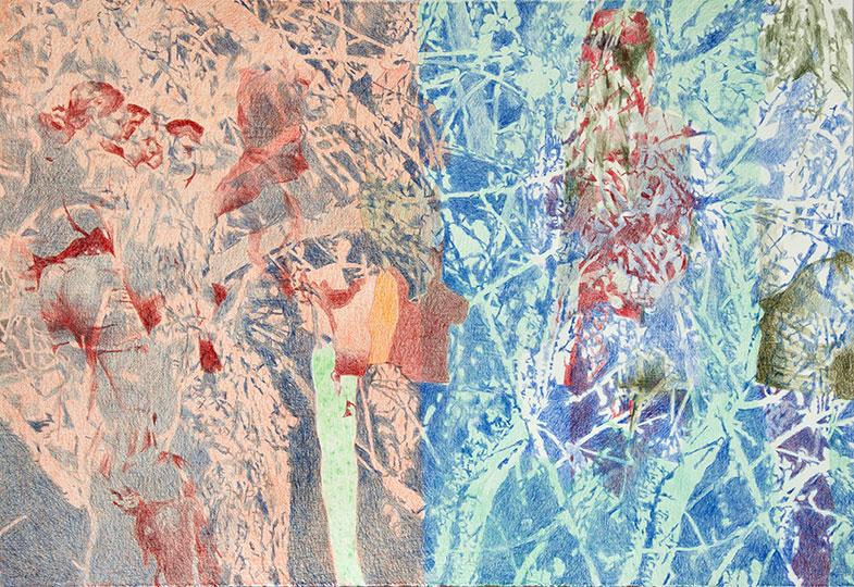 2.4.2017, Buntstift auf Papier, 77 × 112 cm, 2017