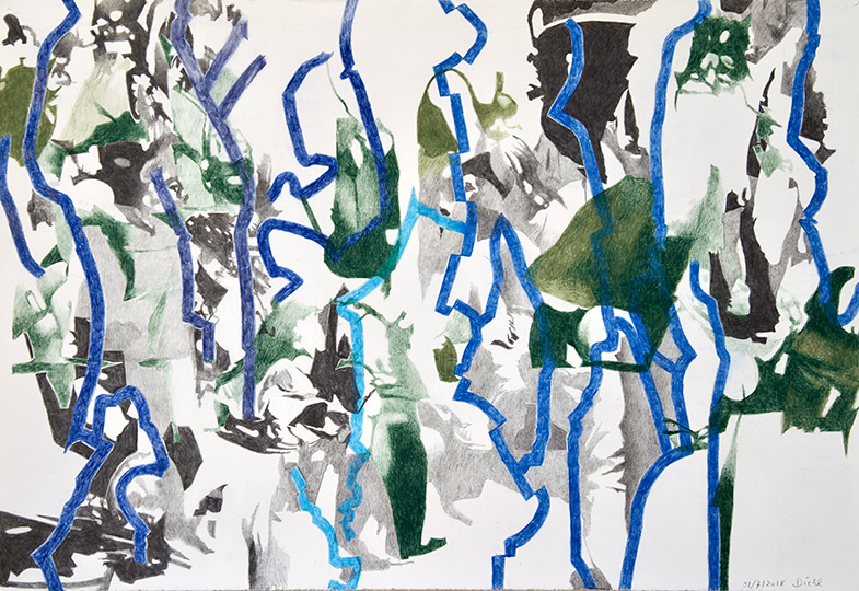 31.7.2918, Buntstift auf Papier, 77 × 112 cm, 2018