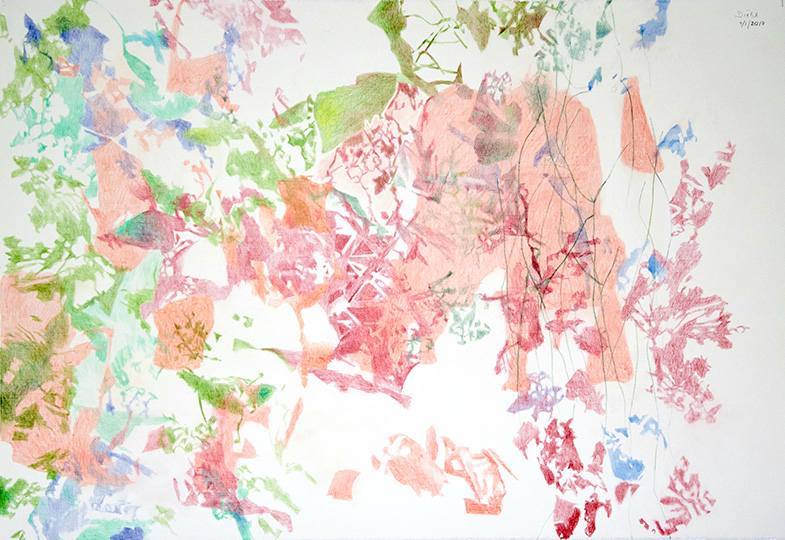 9.1.2017, Buntstift auf Papier, 77 × 112 cm, 2017