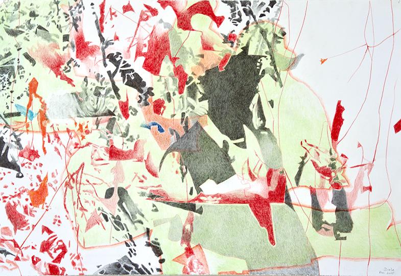 Dez. 2015, Buntstift auf Papier, 77 × 112 cm, 2015