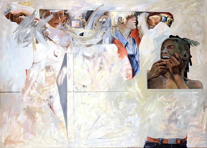 Relativität, Öl auf Leinwand, 162 × 208 cm, 1980, Sammlung Berlinische Galerie, Berlin