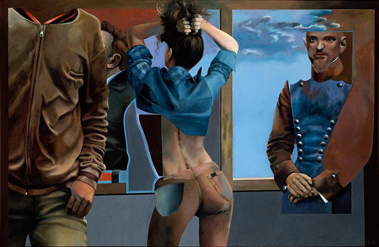Vergangenheitsbewältigung, Öl auf Leinwand, 160 × 230 cm, 1976, Privatbesitz
